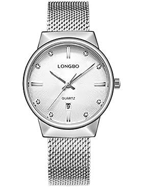 Longbo Luxus Damen Silber Metall Mesh Strap Armbanduhr Analog Business Quarz Auto Datum Kalender Paar Kleid Uhr...