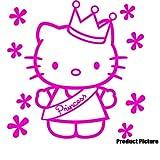 Hello Kitty 20 cm x 20 cm, Farbe: Pink, Kinderzimmer, Kind-Raum-Aufkleber Auto Vinyl, Fenster und Wand Aufkleber, Wand Windows-Art ThatVinylPlace Wandtattoo,