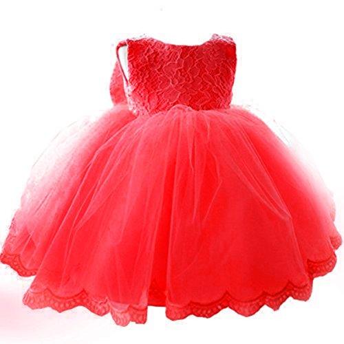 Kleinkinder Baby Mädchen Kleid IHRKleid® Blumenspitze Prinzessin Kleid Hochzeit Partykleid Taufkleid Tüll Festzug (110, 4 Jahren, Rot)