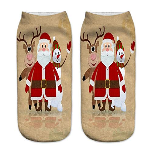 Moonuy 3D Socken Casual Work Business Socken 3D Christmas Santa Elk Printing Einzigartiges Reinigungsmedium 1Pair Socks Sportsocken -