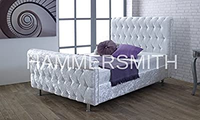 CHESTERFIELD CASTELLO Classy Modern Bed Frame Sleigh Style Fully Upholstered Designer bed in Crushed Velvet or Chenille Fabric (4FT 6'' Double, Crushed Velvet-Silver)