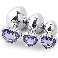 Prise analogique,Fulltime 3PC Base en forme de coeur avec pierre de naissance de bijoux Butt-Anal-Play