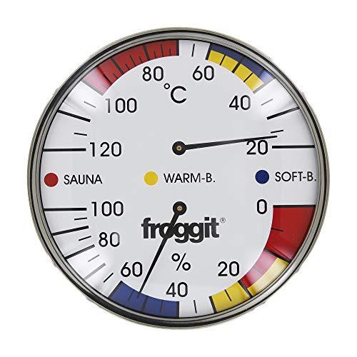 froggit XXL Saunathermometer 16cm Edelstahl Temperatur Luftfeuchte