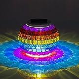 Solarleuchte Mosaik Glas Lampe, Twshiny Leuchten Farbwechsel Tischlampe Solarlampe Glaskugel Nachtlicht für Haus Patio Gartentische Innen- / Außendekorationen Geschenk