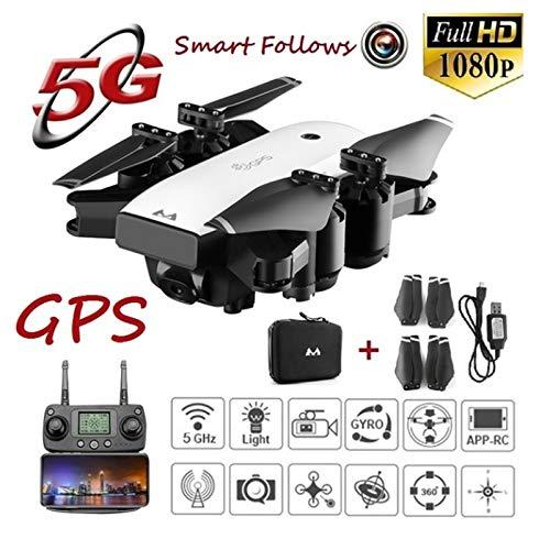 Comtervi GPS FPV RC Klappdrohne,1080p HD Kamera/GPS Follow-me,Schwerkraft-Sensor-und-Headless-Modus,Out-of-Control-Rückkehr,Low-Power-Return-Modus, Sprachsteuerung,Anfänger/Profi-Modus,3D VR Modus -