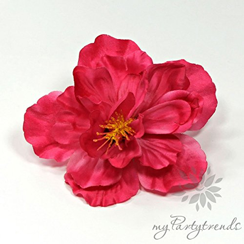 Hawaiiblume 'Hibiskus' in fuchsia; Ø 11 cm; Höhe 6 cm. (Hawaiiblüte, Hibiskusblüte, Hibiskusblume, Hawaii)