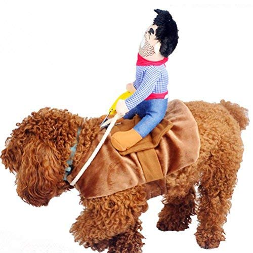 UEETEK Haustier Kostüm Hund Kostüm Kleidung Haustier Outfit Anzug Cowboy Rider Style, passt Hunde Gewicht unter 7 KG) - Größe S (Mensch-katze-gesicht Für Halloween)
