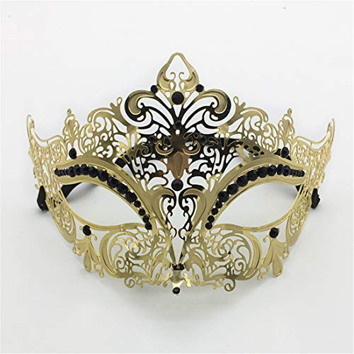 VJUKUBCUTE Sexy Women Es Black Vintage Masquerade Ausgefallene Kleid Masken Glänzende Strasssteine Venezianischen Eyemask-Halloween Mardi Gras Party Maske Halloween Women Cosplay Fashion,Gold