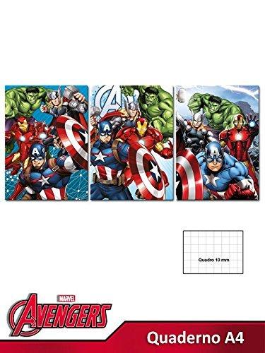10 quaderni maxi a4 10mm (1^ e 2^ elementare) avengers marvel