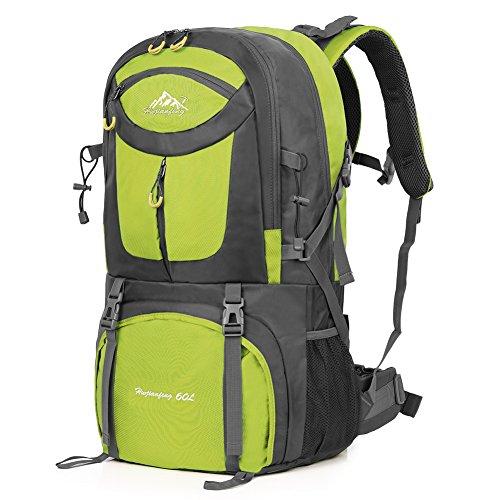 Imagen de vbiger 60l  impermeable  para deporte al aire libre para escalada senderismo trekking alpinismo con cubierta para la lluvia azul
