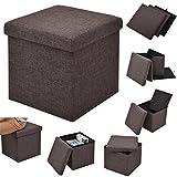 COSTWAY Sitzhocker mit Stauraum Sitzwürfel Sitzbox Sitzbank Aufbewahrungsbox Ottomane faltbar Farbwahl 38x38x38cm (braun)