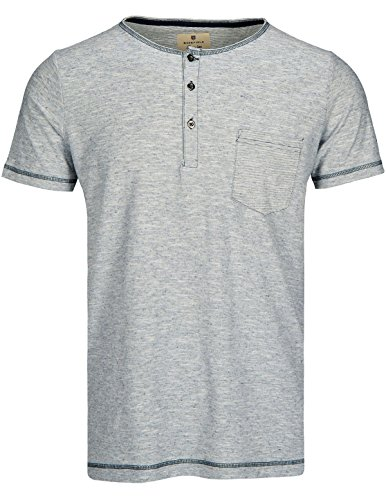 Basefield Herren Henley Shirt 1/2 Slim Fit - Navy (218000654) 610 NAVY MEL.