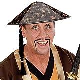 China Hut Chinesenhut mit Zopf Reispflücker Chinahut Asiatischer Sonnenhut Bambushut Chinesische Kopfbedeckung Fasching Mütze Asia Mottoparty Accessoire Karneval Kostüm Zubehör