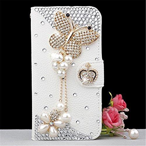 Meizu Pro 7 Hülle, PU-Leder Handytasche Brieftasche Shell Strass-Design Handyhülle Flip Stand Stoßfestes Telefon Folio Cover mit Magnetver schluss für Meizu Pro 7 (Butterfly)