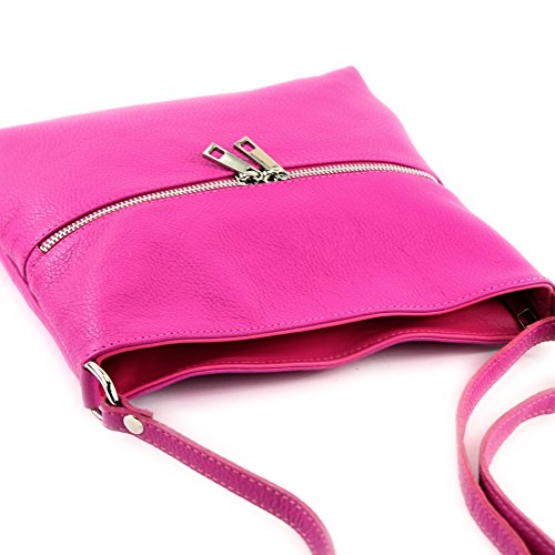 modamoda de - ital. Ledertasche Crossover Schultertasche Damen Umhängetasche Leder T144 Pink