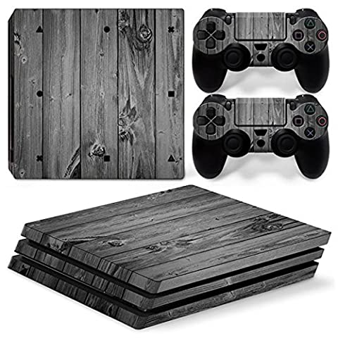 Morbuy PS4 Pro Skin Vinyl Autocollant Sticker Decal pour Playstation 4 Pro console and 2 Dualshock Manette Set (Wood Grey)