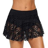 Women One Piece Swimwaer ❀ Ladies Solid Lace Crochet Skirt Bikini Bottom Swimsuit Short Skort Swim Skirt Bathing Suits