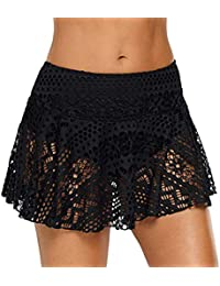 27710e7a5d MEETEW Women Lace Crochet Skirted Bikini Bottom Swimsuit Short Skort  Swimdress Hollow Solid Mesh Cover Up