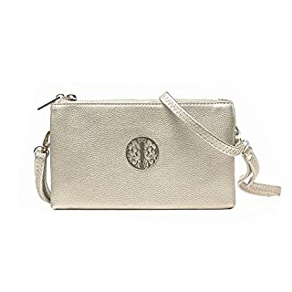 Women's Long & Son Small Clutch, Wristlet, Shoulder ,Cross-Body Bags (Silver Grey)