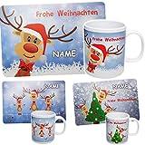 2 TLG. Set: Unterlage + Henkeltasse - Rentiere & Weihnachten - inkl. Name - Tasse - Weihnachtstasse - Kaffeetasse Tischunterlage - 44 cm * 29 cm - abwischbar ..