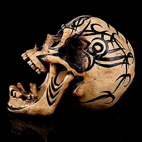 Gazechimp Muster Schädel Statue Figur Skelett Eines Menschlichen Kopfes Replik Modell 23 * 13 * 17cm