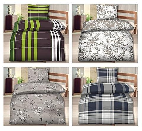 155x220 Bettwäsche Biber Standard 2 tlg. Set in verschiedenen Designs ✔ 155x220 Bettbezug ✔ mit 80x80 Kissenbezug ✔ 100% Baumwolle (2 tlg. 155x220,