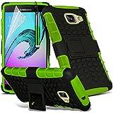 Gadget Giant® Vert/Green - Samsung Galaxy A5 2016 (A510) Étui carapace antichoc résistant double épaisseur de très bonne qualité avec protection d'écran et stylet (Antichoc - Couverture - Rigide - Carapace - Robuste)