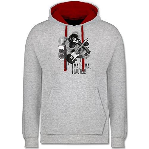Statement Shirts - Mach mal lauter! - Kontrast Hoodie Grau Meliert/Rot