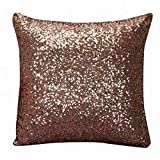 JiaMeng Otoño Lentejuelas de Brillo de Color sólido Throw Pillow Case Funda de Almohada para cojín (café,40cm*40cm)