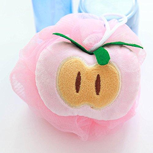 Tutoy Süßigkeit Farbe Frucht Form Bad Ball Handtücher Körper Dusche Schwamm Nylon -Peach (Peach Farbe Duschvorhang)