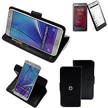 360° Funda Smartphone para BQ Aquaris E4.5 Ubuntu Edition, negro | Función de stand Caso Monedero BookStyle mejor precio, mejor funcionamiento - K-S-Trade