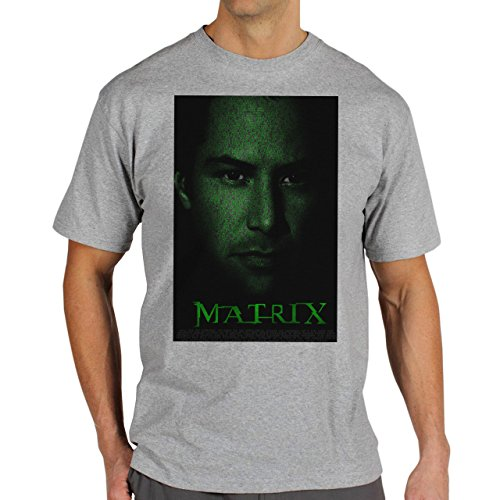 Matrix Revolution Reloaded Morpheus Neo Movie Black Face Background Herren T-Shirt Grau