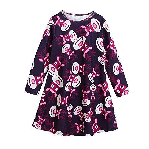 (OverDose Mädchen Weihnachten Party Kleid Schneemann Kleidung Langarm A-Linie Prinzessin Kleider(4-5T ,A-Violett))
