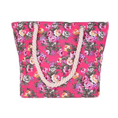 Signore Canvas Shoulder Bag Fashion Flowers Grande Capienza Beach Bag B