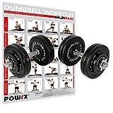 POWRX Gusseisen Kurzhantel 2er Set inkl. Workout I Hanteln Varianten 20kg 30kg 35kg 50kg I Stangen gerändelt mit Sternverschlüssen (2 x 25 kg)