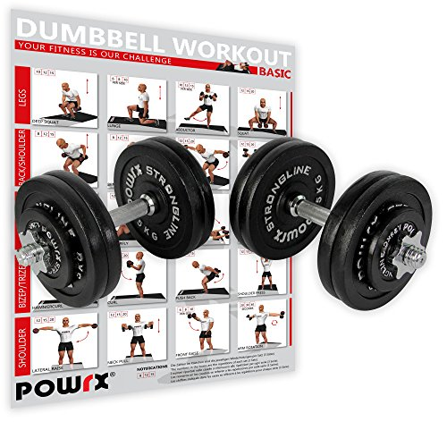 POWRX Gusseisen Kurzhantel 2er Set inkl. Workout I Hanteln Varianten 20kg 30kg 35kg 50kg I Stangen gerändelt mit Sternverschlüssen (2 x 25 kg) (Drücken Kurzhantel)