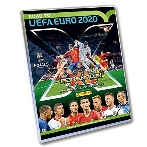 Panini 308958 Sammelkarten Road to Euro 2020, Starterset, Sammelordner, Magazin, Spielfeld, 5 Booster und Limitierte Karte, bunt -