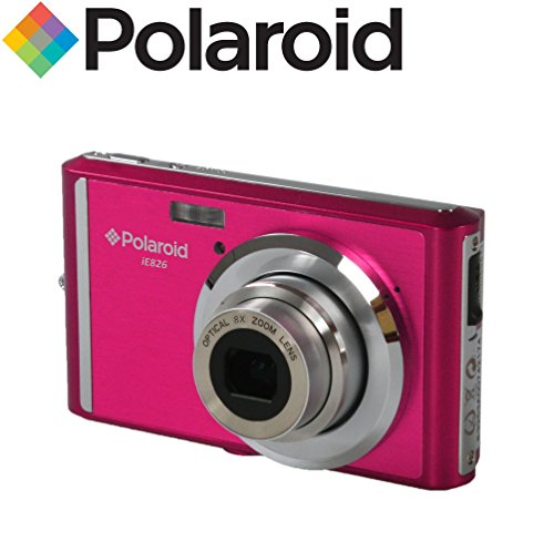 Extrem kompakte 18-Megapixel-Digitalkamera Polaroid IE826 (18 MP, 8-facher optischer Zoom, Li-Ion-Akku, 2,4'-Bildschirm) (pink)