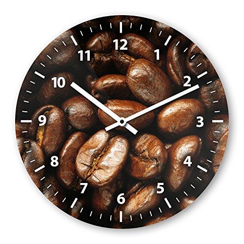 Wanduhr mit Motiv - Kaffeebohne - aus Echt-Glas   runde Küchen-Uhr   große Uhr modern