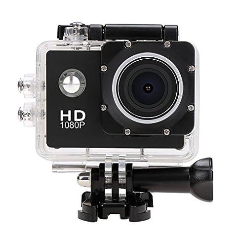 Hikenn HD Action Kamera 1080P Sports Kamera Wasserdicht 170 Weitwinkel-Objektiv mit Zubehor Kits fur Fahrrad Motorrad Tauchen Schwimmen Schwarz