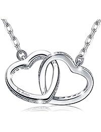 """MARENJA Cristal-Collar para Mujer Doble Corazón-Grabado """"Te amo""""-Chapado en Oro Blanco-Regalo para Mujer-44+5cm"""