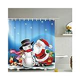 LOUMVE Polyester Weihnachten Schneemann Anti Schimmel Duschvorhang mit Duschvorhangringe Antibakteriell Wasserdicht Badewanne Duschvorhang 150 x 200 cm