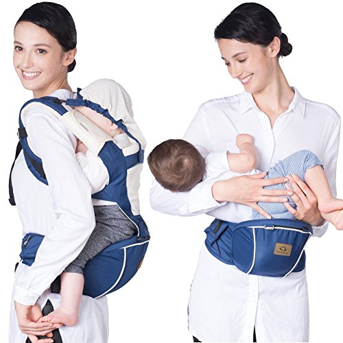 Bebamour Hipseat Baby Carrier Backpack 5 in 1 Carry Ways Carrier Sling (Grey)  Bebamour