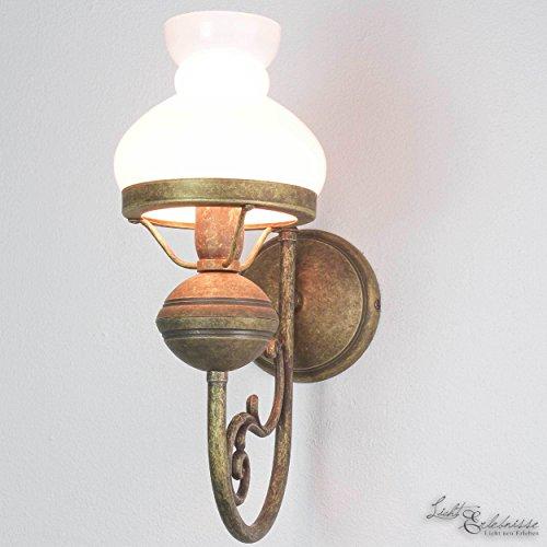 Wandlampe Weiß Glasschirm Echt-Messing Antik Bronze Leuchter Jugendstil Handarbeit Wandleuchte Flur...