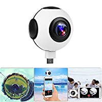 ??�720°???KOCASO Dual Lens Real-Time HD 1080P VR Panorama Camera. Dual Built-In 360° Fisheye Spherical Lenses, Night Vision 2048x1024 Recording, YouTube/FB Live, Time-Relapse Recording- Android - White