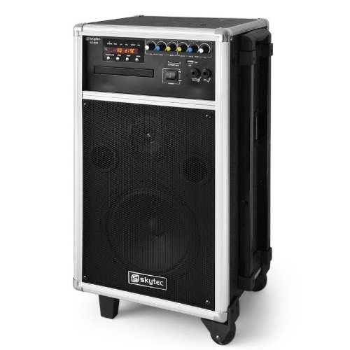 Mobile PA-Anlage Komplettsystem Aktivlautsprecher 250W ( 2x VHF Funk-Mic , 230V/12V/Akku, CD/DVD-Player, 2-Band-EQ, USB, MP3)