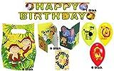 HHO Dekoset Partyset Safari Dschungel Wilde Tiere 1 Girlande 6 Luftballons 6 Einladungen 6 Mitgebsel-Tüten