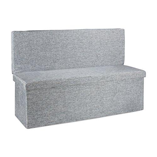 Relaxdays Faltbarer Sitzhocker mit Lehne XL HBT 73 x 114 x 38 cm stabiler Sitzcube als Fußablage Sitzbank und Sitzwürfel aus Leinen als Aufbewahrungsbox mit Stauraum mit Deckel für Wohnraum, grau