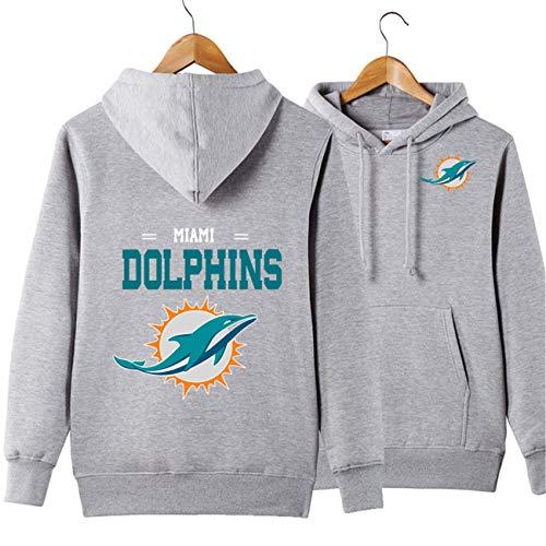Männer Langarm Mit Kapuze Buchstaben Print Miami Dolphins Solid Color Zipper Hoodies(XXL,grau)