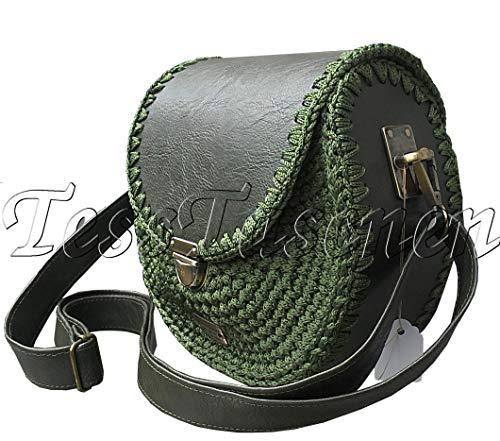 Damen Runde kleine Leder Schultertasche. Dunkelgrüne Handtasche.Gestrickte exklusive Khaki Crossbody Tasche.Praktisch Täglich Tasche.Vegan Leder -